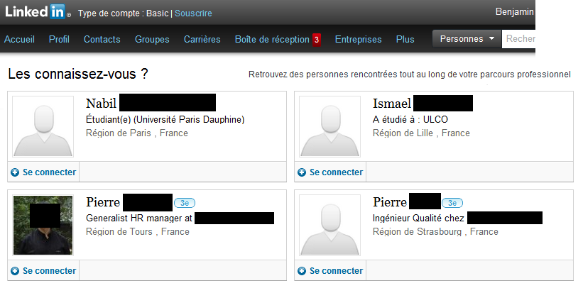 Suggestions de relations sur LinkedIn