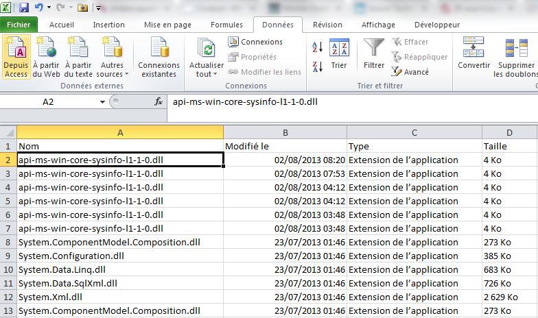 Export dans Excel des résultats de la recherche Windows