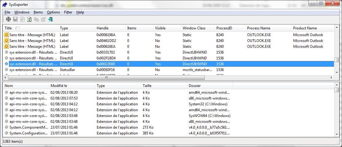 Récupération du contenu de la fenêtre de recherche Windows dans SysExporter